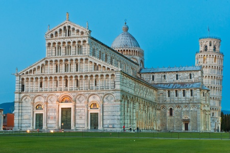 Cathedral of Pisa and Leaning Tower, Romanesque architecture in Tuscany Stock Photo