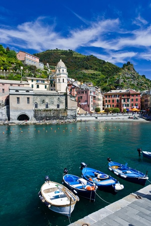Vernazza fisherman village in the Cinque Terre, landmark of Italy photo