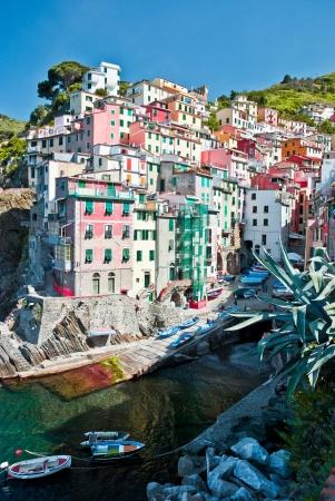 italian sea: The Italian seaside village of Riomaggiore in the Cinque Terre