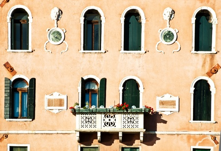 Beautiful facade of a building on Grand canal, Venice photo