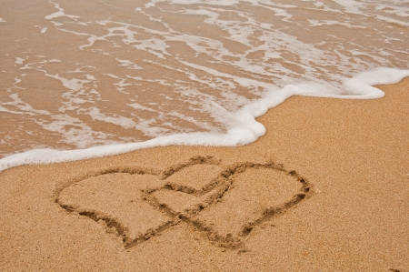 Photo of beach and love in sand. Stock Photo - 13756007