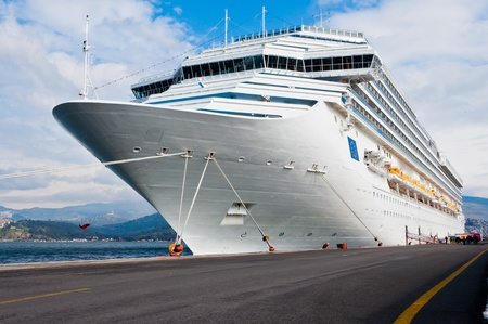 Cruise ship bow on a beautiful day. Stock Photo