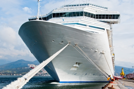 ship bow: Cruise ship bow on a beautiful day. Stock Photo