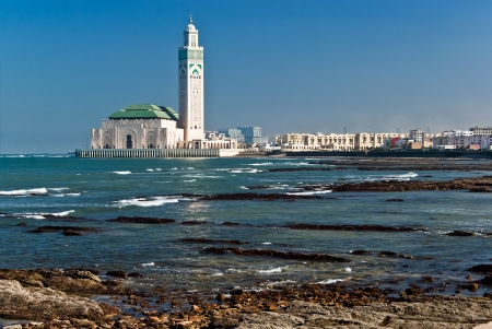The Hassan II Mosque, located in Casablanca is the largest mosque in Morocco and the third largest mosque in the world after the Grand Mosque of Mecca and the Prophet's Mosque in Medina.  Stock Photo - 14081455