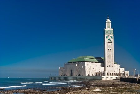 The Hassan II Mosque, located in Casablanca is the largest mosque in Morocco and the third largest mosque in the world after the Grand Mosque of Mecca and the Prophets Mosque in Medina. photo