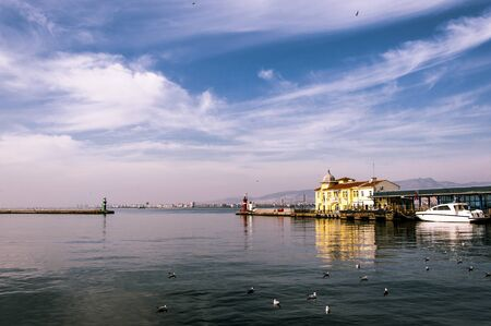 Beautifull view in Izmir,Turkey, with the sea and clouds