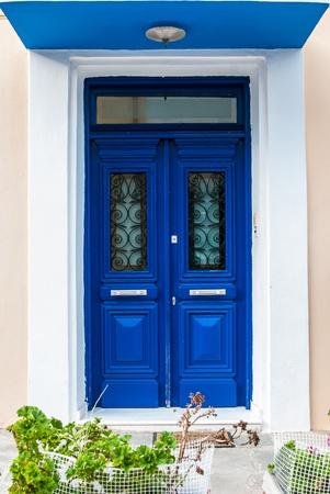 Impressive Greek blue front door in Katakolon