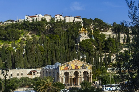 View of Mt  Olives with the Church of All Nations and Church of Mary Magdalene, view from the walls of Jerusalem photo