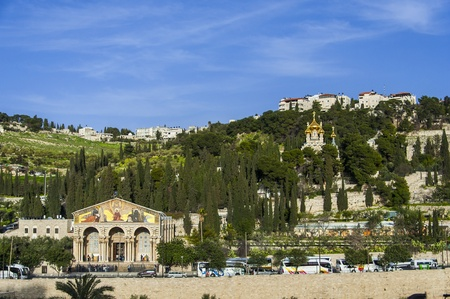 View of Mt  Olives with the Church of All Nations and Church of Mary Magdalene, view from the walls of Jerusalem Фото со стока
