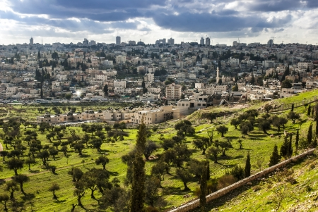 View of Mt  Olives, in the old city of Jerusalem, Israel photo