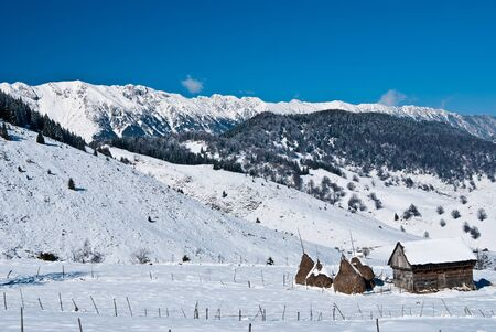 Winter landscape in Romania with Piatra Craiului - mountains in the background
