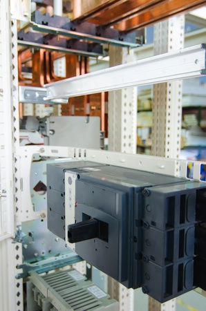 busbar: Copper busbar and protection componets into a distribution panel Stock Photo