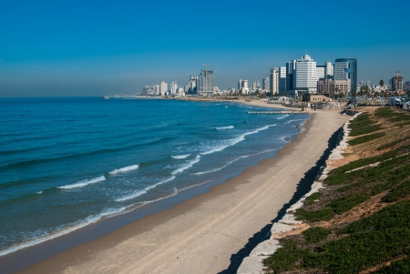 Costline view of Tel-Aviv, viewed from Jaffa-medieval part of the city Jaffa was port in ancinet times  photo