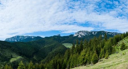 Panoramic view of Hasmas mountains in Harghita, Romania - springtime season