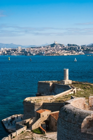 the count of monte cristo: Skyline view over Marseille from The Chateau DIf on Isle Dif Stock Photo