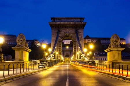 Night view of the famous Chain Bridge in Budapest, Hungary  The Hungarian name of the 203 meters long bridge is Lanchid or Szechenyi Lanchid  photo