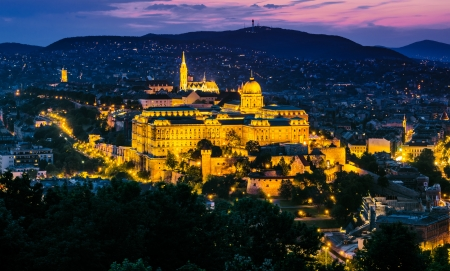 Buda Castle from Budapest at night saw from Gellert Hill  photo
