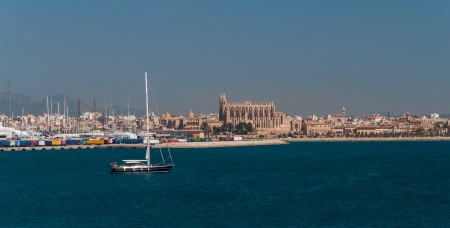 Palma de majorca viewed from the sea photo