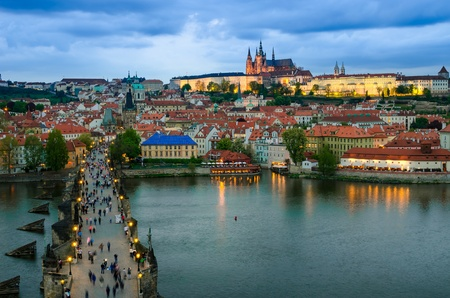 A view of the Prague Castle in the early evening, view from the Old Town Bridge Tower