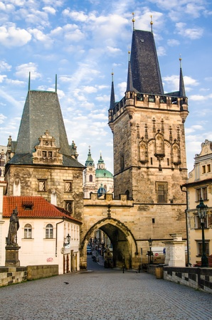 The Tower at the end of the Charles Bridge and Judith Tower,  one of the symbols of Prague  photo