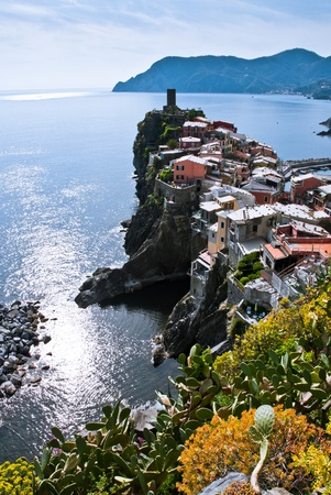 Cinque Terre, Italy  Vernazza - colorful fishermen village by the Mediterranean sea photo