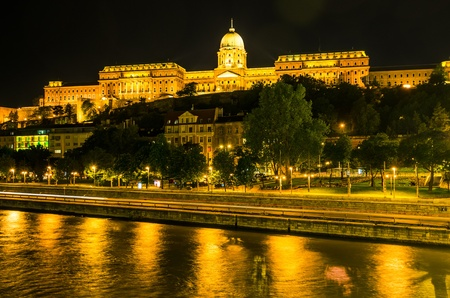 Night view of Budapest over the Danube river  photo