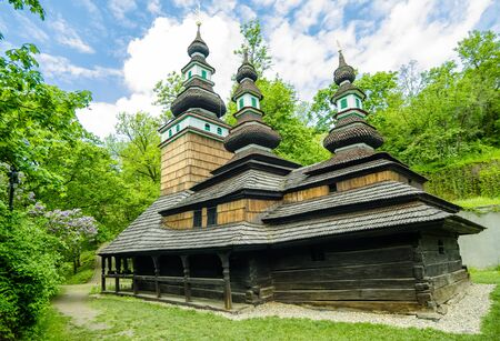 bilding: The wooden church consecrated to St  Michael is situated in the upper part of Kinskeho garden on Petrin Hill