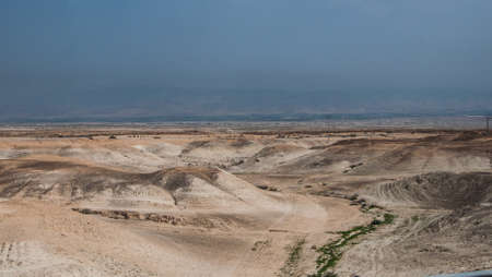 judaean: A little green path down into a valley in Judaean Desert Stock Photo