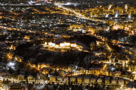 A night exposure over the small fortress of Brasov situared uppon a hill in ther center of the city photo