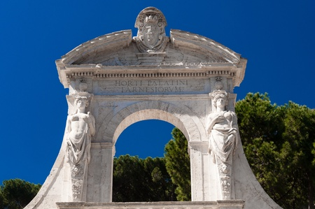 achitectural: Achitectural detail of a portal in Rome, Italy Stock Photo
