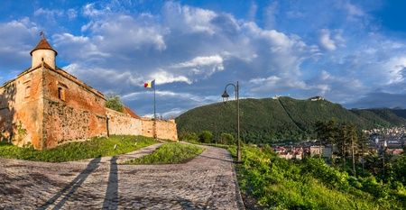Panoramic view of Brasov with its outer fortification system  Transylvania, Romania  photo
