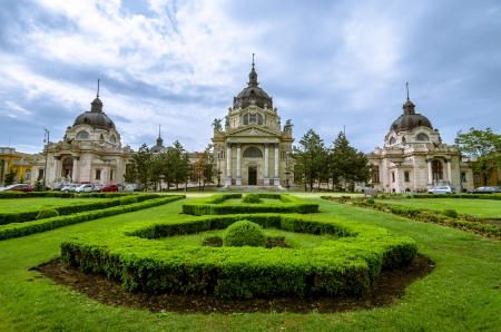 Szechenyi thermal Baths, spa and swimming pool in the Varosliget  main city park of Budapest, Hungary photo