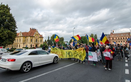 Brasov,Romania,15 September 2013-Thousands of peoples protestin against the Romanian government support for a plan to open Europe biggest open-cast gold mine in small Carpathian town of Rosia Montana Editorial