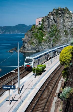 Manarola s village train station in  Cinque Terre, Italy  Reklamní fotografie