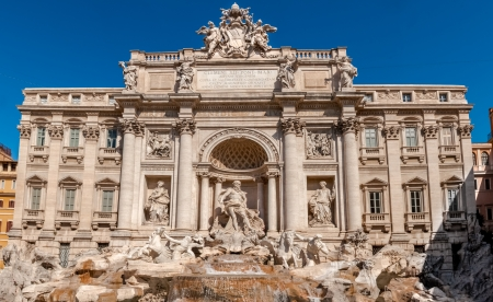 The Trevi Fountain  Italian  Fontana di Trevi  is a fountain in the Trevi rione in Rome, Italy  Standing 25 9 meters high and 19 8 meters wide, it is the largest Baroque fountain in the city  photo