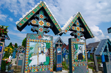 The merry cemetery of Sapanta, Maramures, Romania This is very famous and probably the most beautiful cemetery in the world  All of the graves are unique and made of wood  Stockfoto