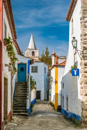 ufortyfikować: Obidos położony jest na wzgórzu i otoczony jest murem obronnym Jego ulice, skwery, ściany i jej ogromny zamek okazały malowniczej miejscowości w korzystnej atrakcji turystycznej w Portugalii