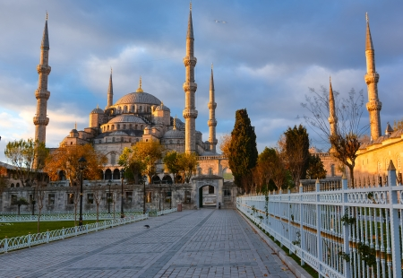 Sultan ahmed Mosque is located in the city of Istambul  It was built during the ruel of Ahmed I  It s populary known as the Blue Mosque Stock Photo