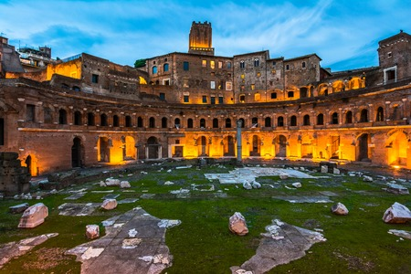 A panoramic view on Trajan s Market, a part of the imperial forum of Rome, Italy photo