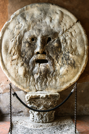 manlike: La Bocca della Verita is an image of a man-like face, located in the portico of the church of Santa Maria in Cosmedin The sculpture is thought to be part of a first-century ancient Roman fountain