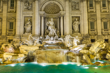 italian fountain: he Trevi Fountain  Italian  Fontana di Trevi  is a fountain in the Trevi rione in Rome, Italy  Standing 25 9 meters high and 19 8 meters wide, it is the largest Baroque fountain in the city Stock Photo