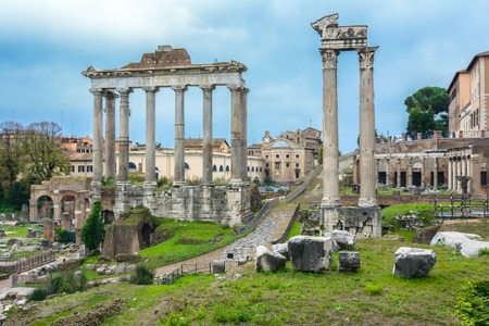 View over the ancient Forum of Rome showing temples, pillars, the senate and ancient streets photo