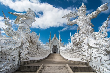 Beautiful ornate white temple located in Chiang Rai northern Thailand  Wat Rong Khun  White Temple , is a contemporary unconventional Buddhist temple