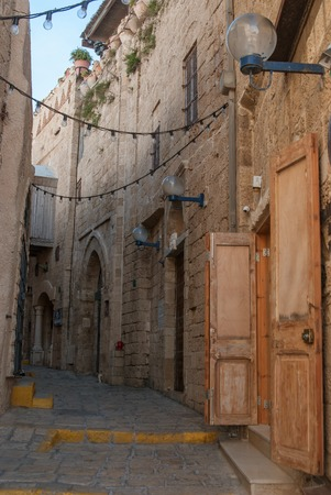 yaffo: Narrow streets of old Jaffa  Israel Jaffa is famous for its association with the biblical story of the prophet Jonah Stock Photo