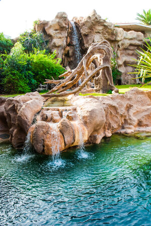 Rocky decoration in a place were tigers were kept, for creating an natural enviroment, in Tenerife, Spain  Stock Photo