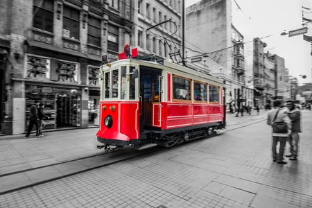 Trams passing through Istiklal street  Selective focus  Slow time shutter speed for the panning effect