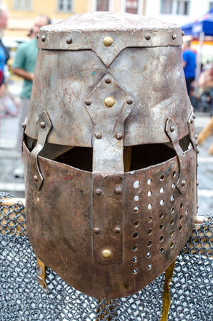 assasin: Medieval armor at Medieval festival from Brasov city Stock Photo
