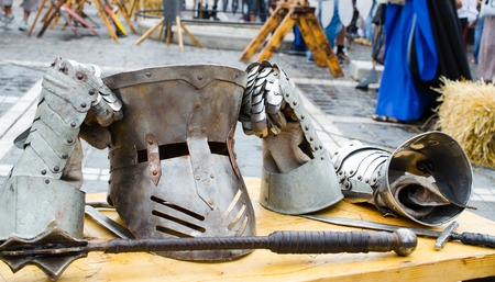 assasin: Medieval armor and weapons at Medieval festival from Brasov city