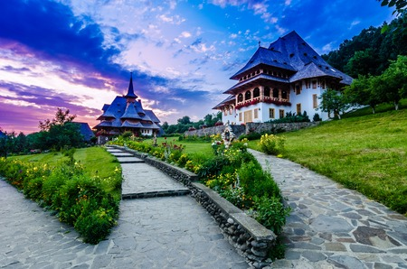 The Wooden Churches,orthodoxes,in the Maramures region, the northern part of the country The Maramures churches are high timber constructions with slim bell towers at the western end of the building photo