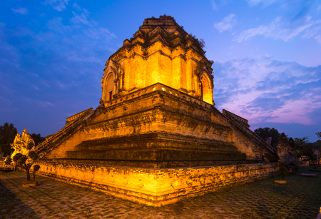Wat Chedi Luang temple from Chiang Mei at sunset photo